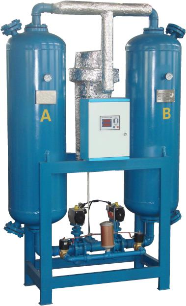 Heat/heatless Desiccant Air Dryer